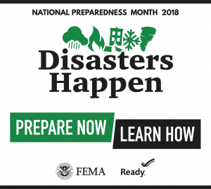 Logo of National Preparedness month that says Disasters Happen, Prepare Now, Learn Now