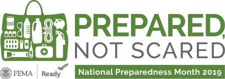 Logo of National Preparedness month that says Prepared, Not Scared